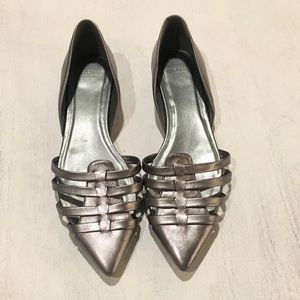 Silver Cole Haan leather flats, 9.5